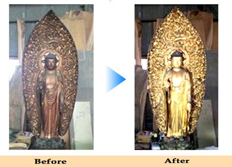 仏像や仏具もクリーニングできます